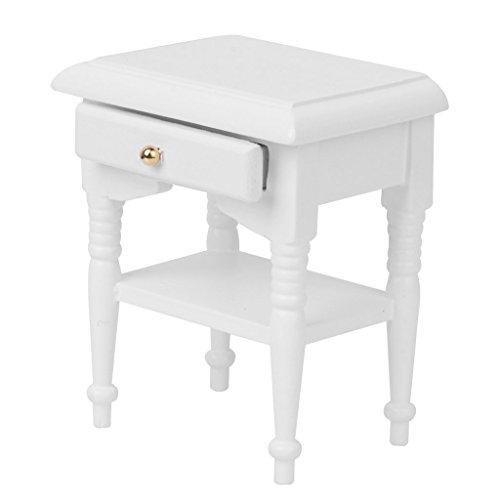 1 Schublade Traditionellen Nachttisch (Puppenhaus Bett Schrank - SODIAL(R) 1/12 Puppenhaus Bett Kabinett Miniatur Modell Moebelhaus Dekoration weiss Holz)