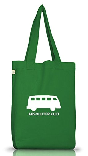 Shirtstreet24, ABSOLUTER KULT, Bus Jutebeutel Stoff Tasche Earth Positive Moss Green