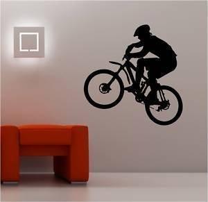 Online Design Riesigen Mountainbike Wandkunst Sticker Vinyl Kinder Biker - Schwarz