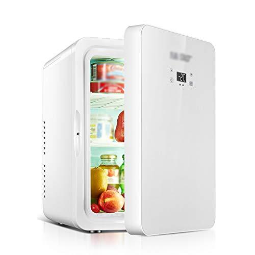 Minikühlschrank, 22L Autokühlschrank, Eisgetränk/Kosmetik/Maske/Muttermilch Kleiner Kühlschrank, Dual Core Kühlung/Heizung (Color : White, Size : with digital Display) -
