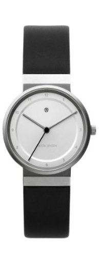 Jacob Jensen Dimension Series Women's Quartz Watch with White Dial Analogue Display and Black Leather Strap 871