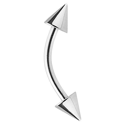 Piersando Banane Piercing Stab Stecker Gebogen Spikes Spitze Augenbraue Tragus Septum Helix Lippe Ohr Nase Intim Brust Bauch Piercings Silber 1,6mm x 10mm x 4x4mm