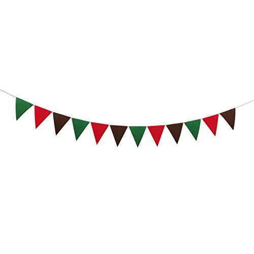 Wimpelkette für Weihnachten, Party-Dekoration, mehrfarbig, Grün/Rot / Braun