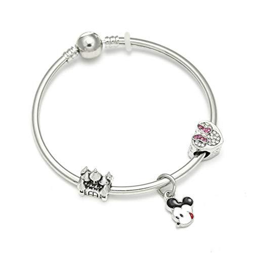 YCWDCS Armband Hochwertige Cartoon Styles Charm Armbänder Mit Mickey Minnie Castle Perlen Marke Armband Für Kinder Geschenk Dropshipping -