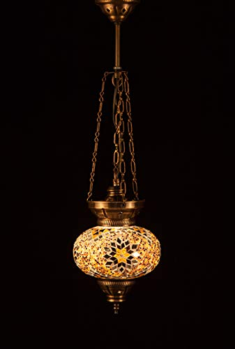 Handmade Turkish Lamp Moroccan Ottoman Style Mosaic Oval Large Mosaic Hanging Lamp Triple Chain Lights Home Bedroom Restaurant Cafe Decoration Light Brown&Amber LIne