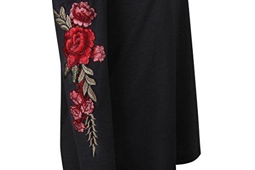 Zhaoyun Damen kalte Schulter Langarm Floral bestickte Hemd Bluse Tops Schwarz