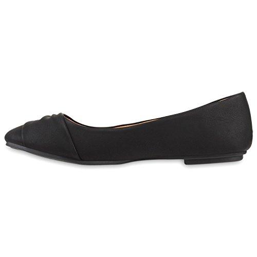 Klassische Damen Ballerinas Lederoptik Flats Freizeit Schuhe Übergrößen Schwarz