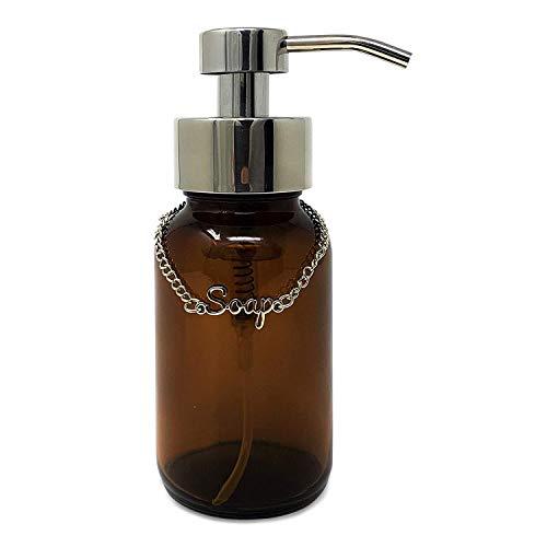 KreaSHen Schaumseifenspender, bernsteinfarbene Glasflasche, Premium-Chrom-Edelstahl-Seifenspender, Pumpe/klare Flasche, ideal für Schaum-Handseife als Bad oder Küche Zubehör - Amber Antibakteriell