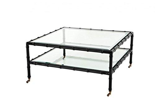 CASA PADRINO ART DECO LUXURY TEAK WOOD COFFEE TABLE BLACK - LIVING ROOM COFFEE TABLE - LUXURY QUALITY