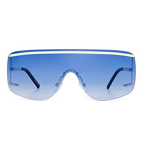 Oversized Schild Sonnenbrille Flach Top Gradient Linse Randlos Brille Damen Herren(Beige/Farbverlauf blau)
