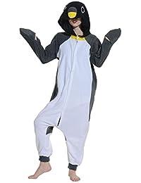 Unisex Animal Pijama Ropa de Dormir Cosplay Kigurumi Onesie Ping/üino Negro Disfraz para Adulto Entre 1,40 y 1,87 m