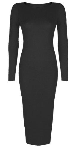 Vestido con faja, de manga larga, Talla 8–26 negro S/M