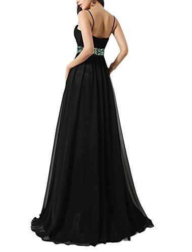 Find Dress Femme Sexy Robe de Soirée/Cocktail/Cérémonie avec Bretelles Spaghetti, Formelle Robe Longue au Sol en Mousseline de Soie avec Appliques Jonquille