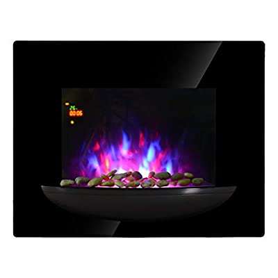 HOMCOM Freestanding/Wall Mounted Electric Fireplace Heater View Wood Burning Effect Flame Temperature Adjustable Home Office Fireplace Stove