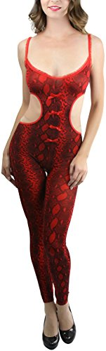 ToBeInStyle Women's Footless Python Cutout Crotchless Bodystocking - Red/Black (Bodystocking Footless)