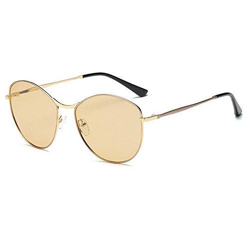 Yiph-Sunglass Sonnenbrillen Mode Polarisierende Sonnenbrille der kleinen ovalen Form Frauen Vollbild-UV-Schutz, der Reisende Sonnenbrille für alle Gesicht fährt (Farbe : Champagne)