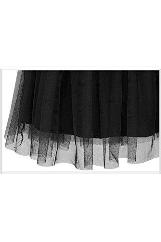 Le Strisce Elegante Mosaico Scollato Maglie Caduta Parte Una Linea Di Tulle Vestito Black