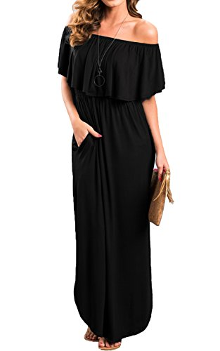 MAGIMODAC Damen Off Shoulder Bandeau Langes Kleid Sommer Party Hippie Boho Kleider Abendkleid Maxikleid Cocktailkleid Freizeitkleid mit Schlitz (EU 34-36, Schwarz) -