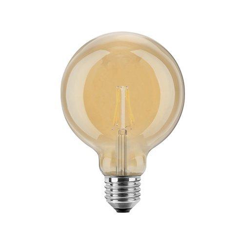 Blulaxa LED Filament Vintage Globelampe Goldglas amber, 9,5cm, 300°, E27, warmweiß, 4W EEK: A+