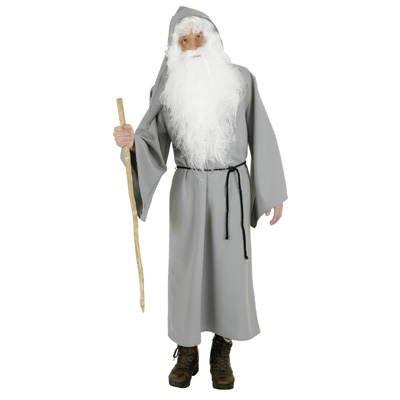 Zauberer Kostüm Mystische (Herren-Kostüm Druide, grau)
