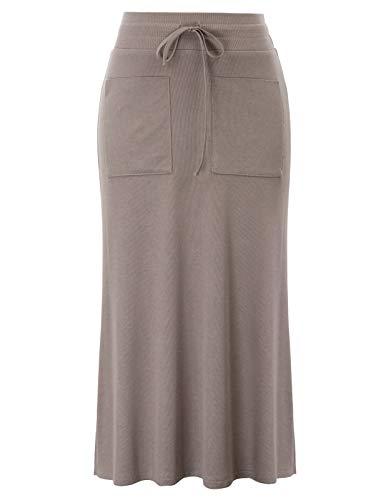 Damen Kordelzug elastische Taille seitlich geteilt Stretch ausgestattet lang Maxi Rock -