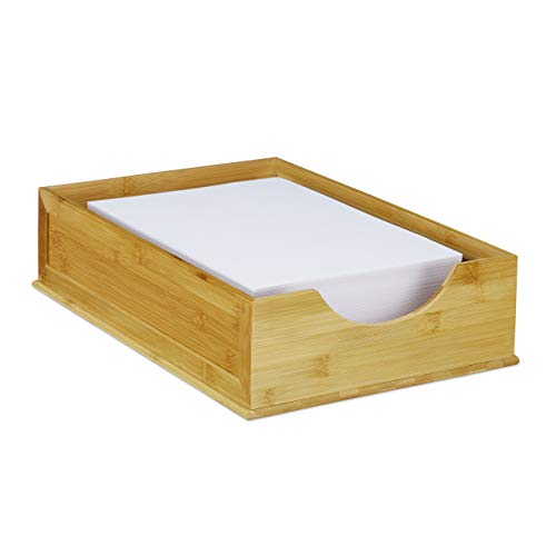 Relaxdays Dokumentenablage Bambus, stapelbar, DIN A4 Papier, Büro Organizer, Schreibtisch, HBT: 10 x 26,5 x 39 cm, natur