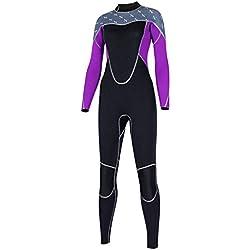 ZEELIY SLINX Femmes Anti-UV Combinaison de Plongée ❀ Élastique Chaud Zippé Manches Longues Surf Plongée Sport Maillots de Bain Mode Impression Maillot de Bain de Plage 1 Pièces XS-XL