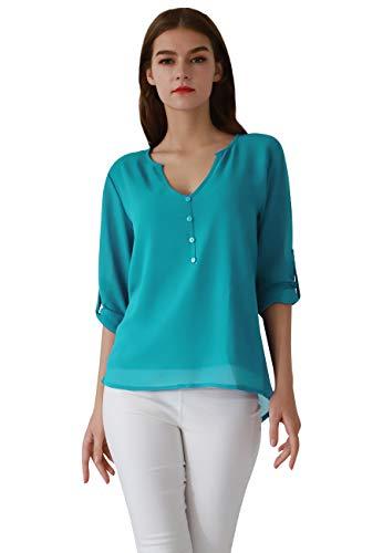 OMZIN Damen Casual Chiffon Knöpfe Bluse V-Ausschnitt Langarm Top Shirts Übergroße Himmelblau S