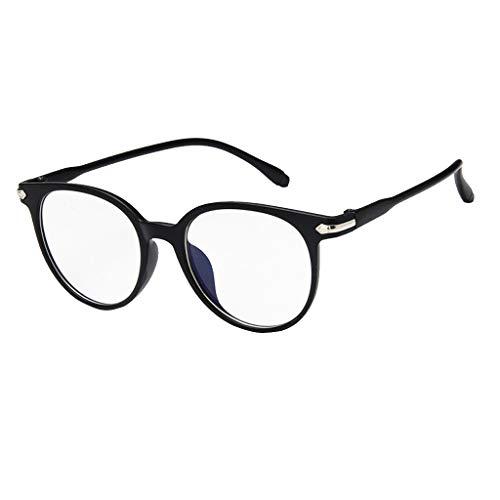 EUCoo Studenten Brille KläRen Anti Blaue Augenpflege Retro Computer Strahlung Volle Rahmenflache Optische GläSer(Helles Schwarz)