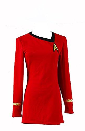 Fuman Star Trek Uniform Kleid TOS Kostüm Rot Damen (Uhura Kleid)