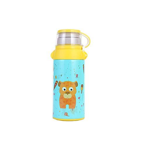 ZSL8 Kindersportflasche Jungen und Mädchen staubsaugen Edelstahl ohne BPA-Wasserflasche Laufende Reiseleuchte auslaufsicherer Isolierbecher 550ML,Blue