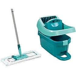Leifheit Kit Profi XL Essore-housse avec lave-sol, seau et balai essoreur taille XL, kit de lavage sol avec mécanisme d'essorage intégré, turquoise