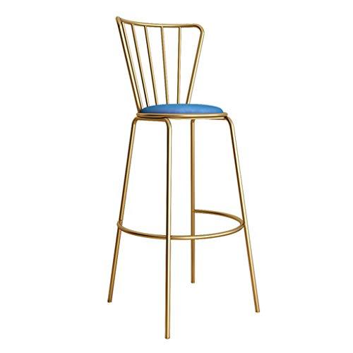 Fashion Barhocker Stühle mit großer Rückenlehne Samt gepolstert Counter Dining Height Stühle mit Metall Eisen Gold Beine Pub Bistro Barhocker, blau - Bar-height Bistro