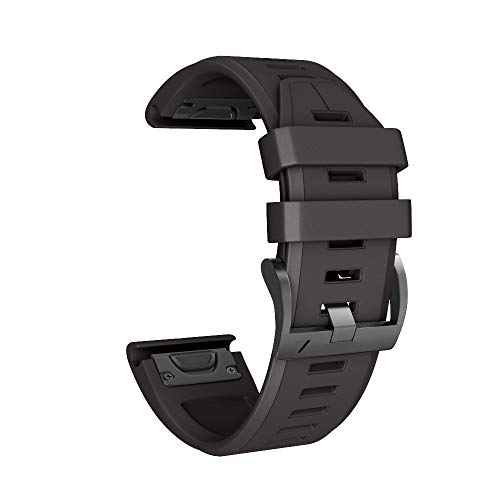 Armband für Garmin Fenix 5X Plus Uhrenarmband, MuSheng Silikon Weich Sport Uhrenband Smartwatch Ersatzband mit Schnalle Fitness Band, Mehrfarbig (Schwarz) - Armband Lächeln