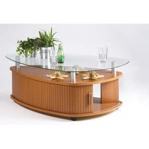 Simmob-Table Basse Ovale Merisier À Rideau