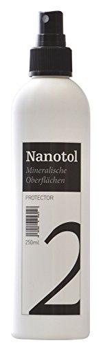 Steinversiegelung aussen und innen - Nanotol Protector für mineralische Oberflächen mit Lotuseffekt - Nano-Imprägnierung für Naturstein, Fliesen, Granit, Beton, Zement, Pflastersteine oder Ziegel (250 ml für ca. 5 m²)