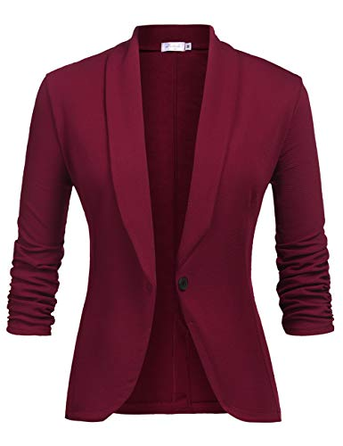 Ladies Cardigan Elegant Blazer Lightweight Thin 3/4 Longer Bolero Jacket Blazer Slim Fit Suit Trenchcoat Weinrot L