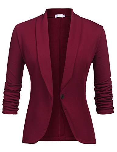 Damen Blazer Leicht Casual Tailliert Jersey Kurze Blazer Jacke 3/4 Arm Anzugjacke mit Knopf Weinrot S