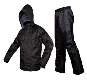 Good Quality Men's Polyester Raincoat/Windcheater (Black, XX-Large)