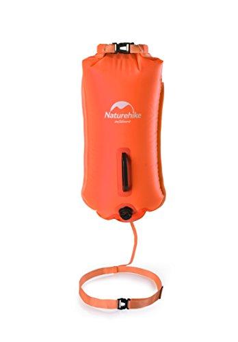 Naturehike 28L Open Water Schwimmen Doppel-Ballon Swim Boje Trockenbeutel Wasserdichte Strandtasche (Orange)