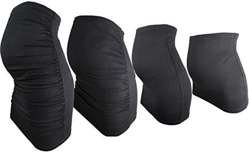 Evagreen Bauchband Schwangerschaft 4er Pack | Basic - Extra Lang Plus | Umstands-Bauchbänder | Bauchband-Rock für Schwangere | Praktische Umstandsmode Damen Sommer (L, Schwartz)