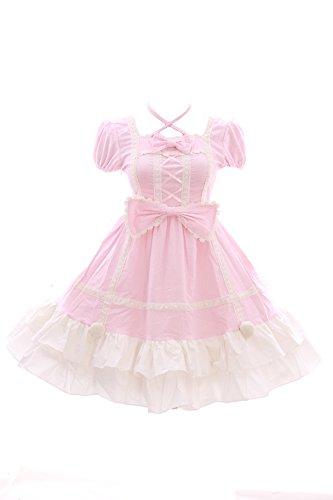 JL-628-2 Rosa Punkte Klassik Gothic Lolita Schleife Samt Baby Doll Kleid Kostüm Cosplay (EUR ()
