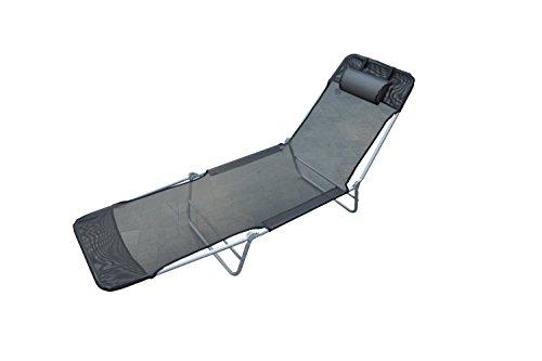 Outsunny - Tumbona reclinable para jardin playa o piscina, acero y textilene, Negro, 182x 56x 24.5 cm