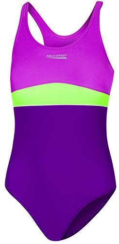 Aqua Speed Emily Badeanzug | Mädchen | Teenager | 134-164 | UV-Schutz | Elastisch | Blickdicht | Chlorresistent 164 Violet-Dark Violet-Green (Teenager Mädchen)