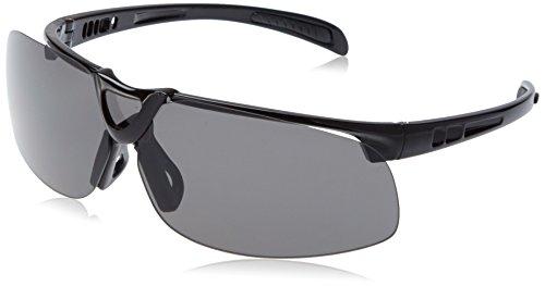 L.A. Sports Sportbrille Pro 15530 rahmenlos Sonnenbrille Outdoor Sport Freizeit l Wechselgläser dunkel orange klar UV-Schutz polarisierend l schwarz Unisex Damen Herren