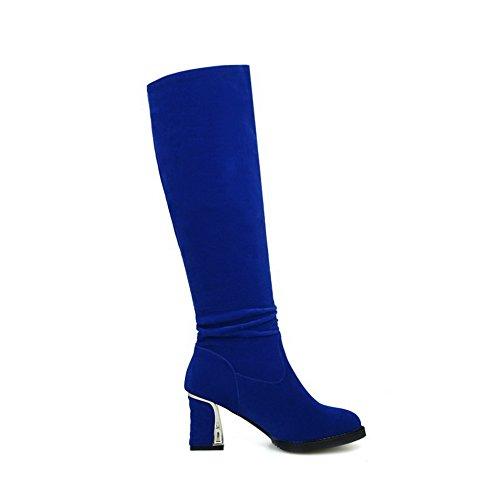 AgooLar Femme Rond Haut Élevé à Talon Correct Couleur Unie Bottes avec Bijou Bleu