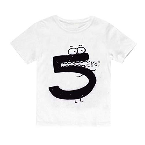 JUTOO Neugeborenes Baby scherzt Jungen-Mädchen-Nette Zahl-Karikatur-Kurzarm-T-Shirt übersteigt Kleidung (Weiß 5,130)