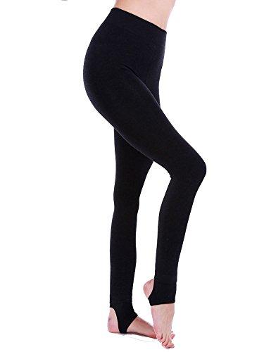 AMORETU Damen Blickdichte Gefütterte Strumpfhose Leggings mit Steigbügel Schwarz Größen 34-40 (Undurchsichtig Steigbügel)