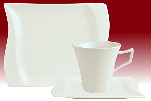 Kaffeeservice Harmony 36tlg. eckig Porzellan für 12 Personen weiß geschwungene Kanten