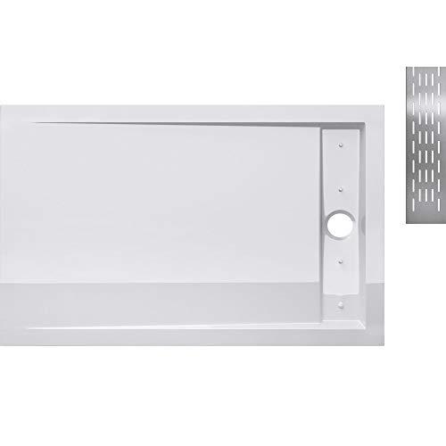 duschwanne 120 Sogood Duschtasse Duschwanne Xetro04W 90x120x5 flach aus Acryl in Weiß Rechteckig DIN-Anschlüsse bodenebene Montage geeignet